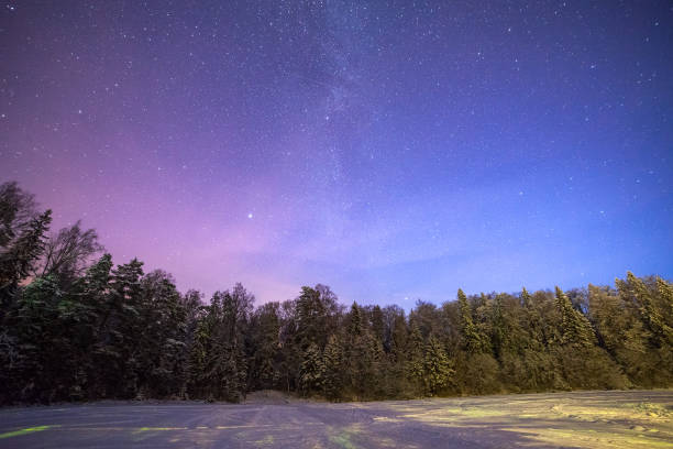 A clear night showing stars. Forest and frozen lake in Estonia. stock photo