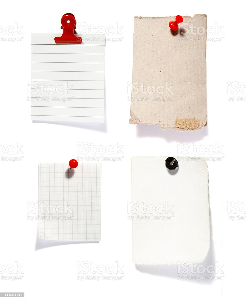 Clear note papers against white background royalty-free stock photo