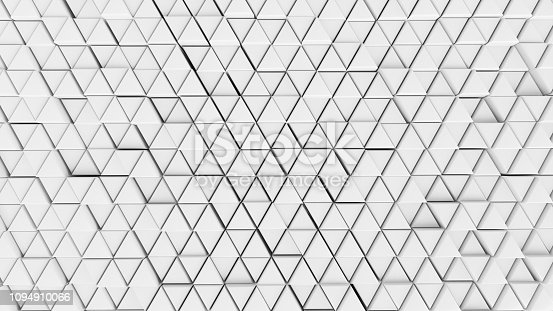 istock Clear pattern abstract background wall triangle color white, wallpaper futuristic - Illustration 3D 1094910066