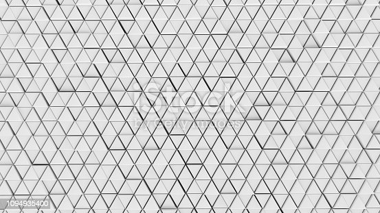istock Clear pattern abstract background wall triangle color white, wallpaper futuristic - Illustration 3D 1094935400