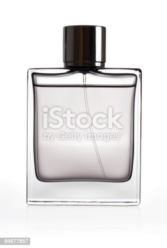 Bottle of perfume isolated over a white background.