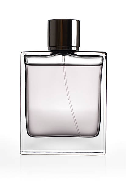 Clear perfume bottle model isolated on a white background stock photo