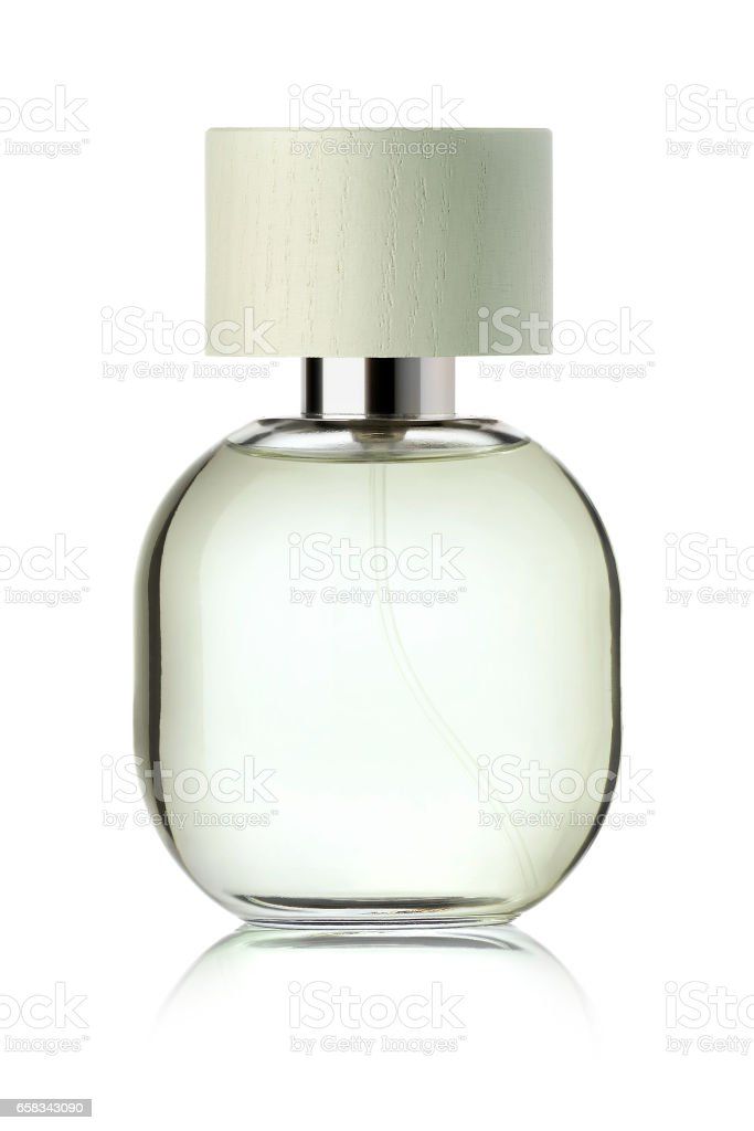 Clear perfume bottle stock photo