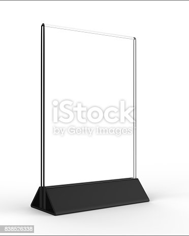 527567107istockphoto Clear plastic and acrylic  table talkers promotional upright menu table tent top sign holder 11x8 table menu card display stand picture frame for mock up and template design. 838526338