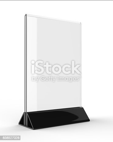 527567107istockphoto Clear plastic and acrylic  table talkers promotional upright menu table tent top sign holder 11x8 table menu card display stand picture frame for mock up and template design. 838527026