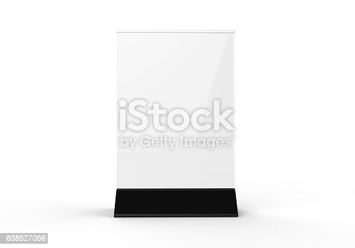 527567107istockphoto Clear plastic and acrylic  table talkers promotional upright menu table tent top sign holder 11x8 table menu card display stand picture frame for mock up and template design. 838527056