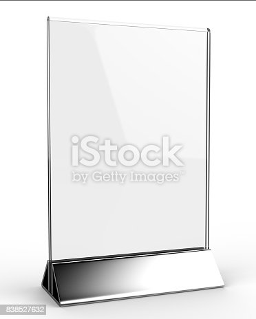 527567107istockphoto Clear plastic and acrylic  table talkers promotional upright menu table tent top sign holder 11x8 table menu card display stand picture frame for mock up and template design. 838527632