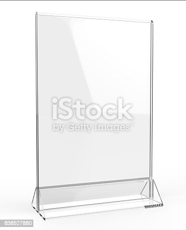 527567107istockphoto Clear plastic and acrylic  table talkers promotional upright menu table tent top sign holder 11x8 table menu card display stand picture frame for mock up and template design. 838527880