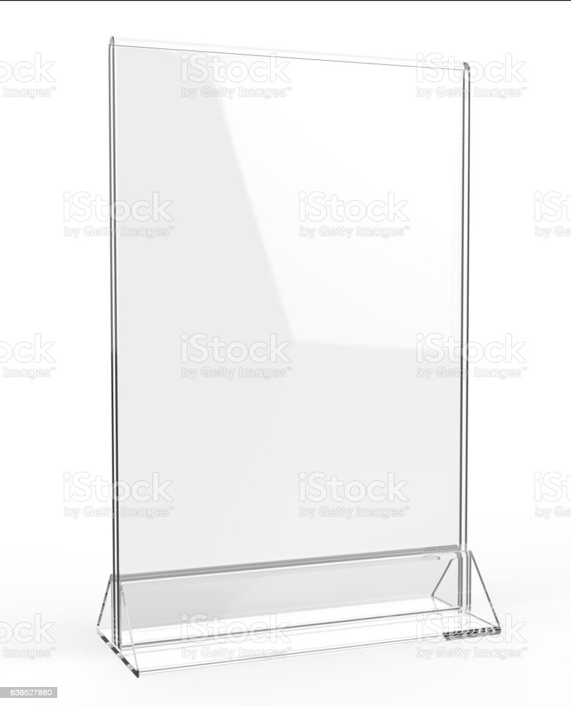 Clear plastic and acrylic  table talkers promotional upright menu table tent top sign holder 11x8 table menu card display stand picture frame for mock up and template design. stock photo