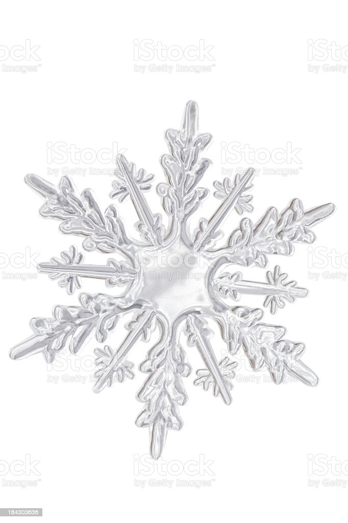 Clear plastic looking icy snowflake stock photo
