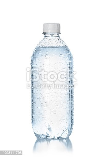 A clear plastic water bottle with droplets of condensation sitting on a white background