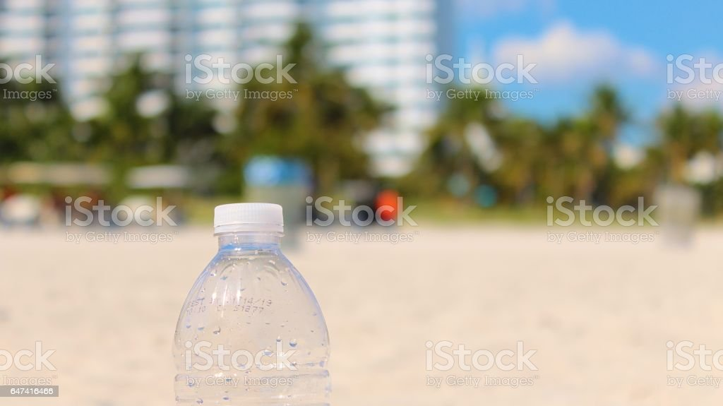 Clear Plastic Water Bottle on the Beaches of Miami, Florida stock photo
