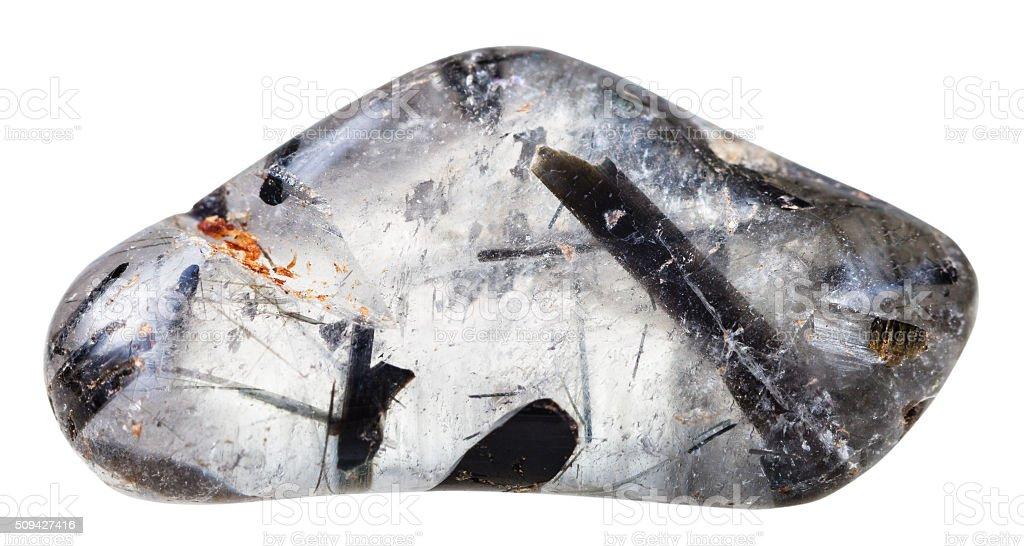 clear quartz with schorl crystals gemstone stock photo