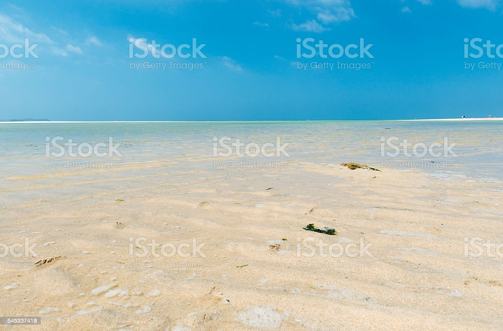 Clear shallow blue sea, Low tide Hayle Beach, Cornwall royalty-free stock photo