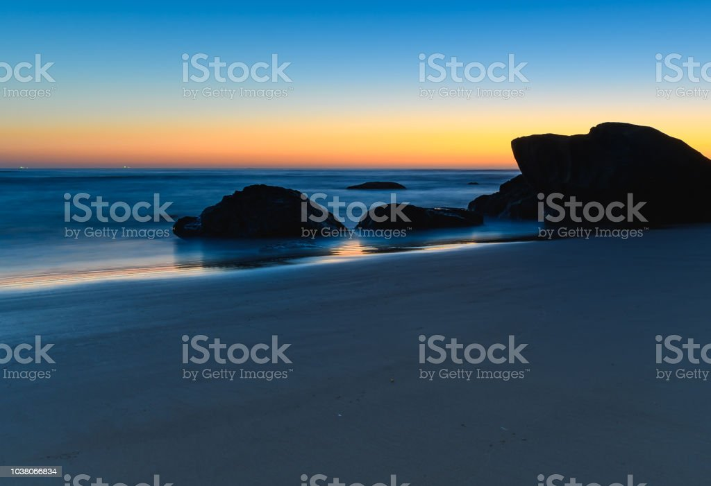 Clear Skies Dawn Seascape stock photo