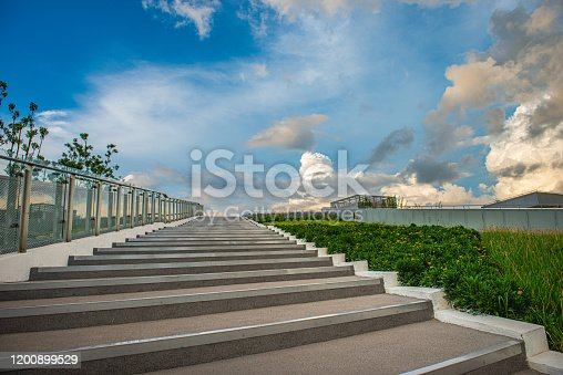 Clear sky, blue sky, white clouds, steps and glass handrails of City Park sightseeing platform