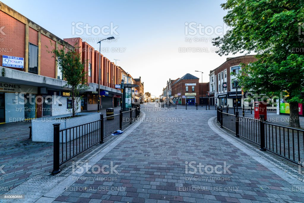 Northampton, UK - Aug 10, 2017: Clear Sky morning view of Abington Street in Northampton Town Centre stock photo