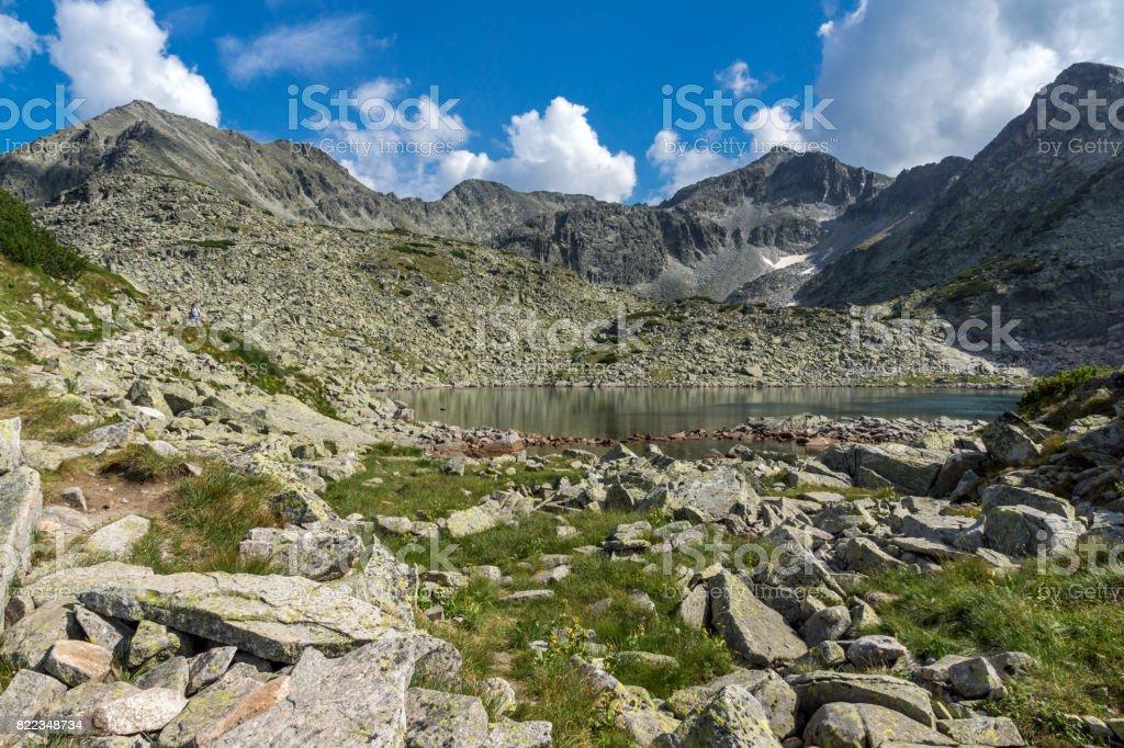 Clear sky over Musala peak and Musalenski lakes,  Rila mountain stock photo