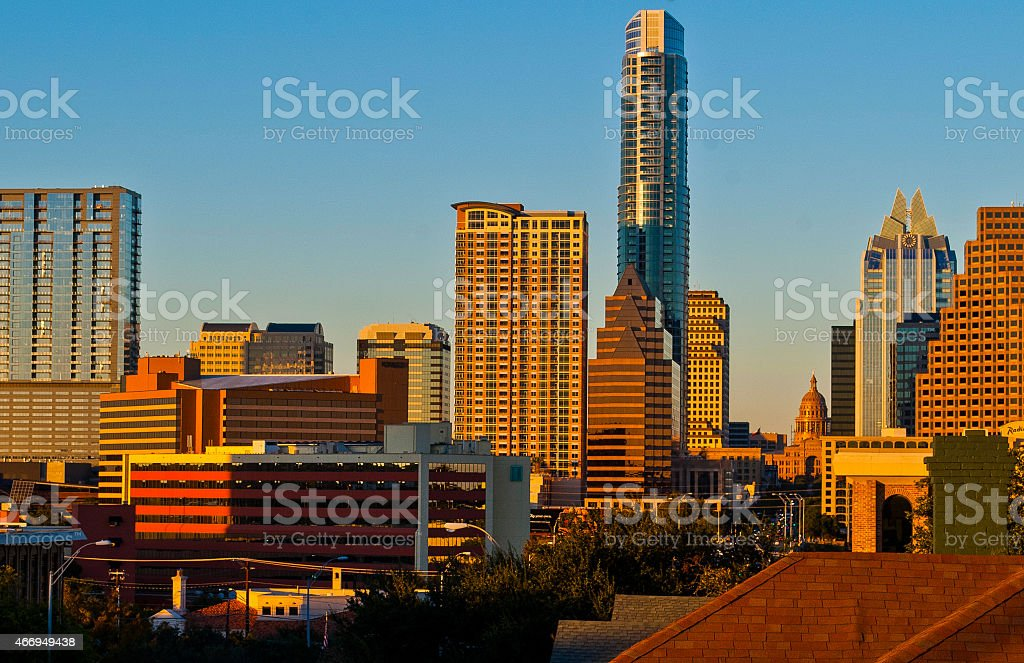 Clear Skyline Over Austin Texas Looking Down Congress stock photo