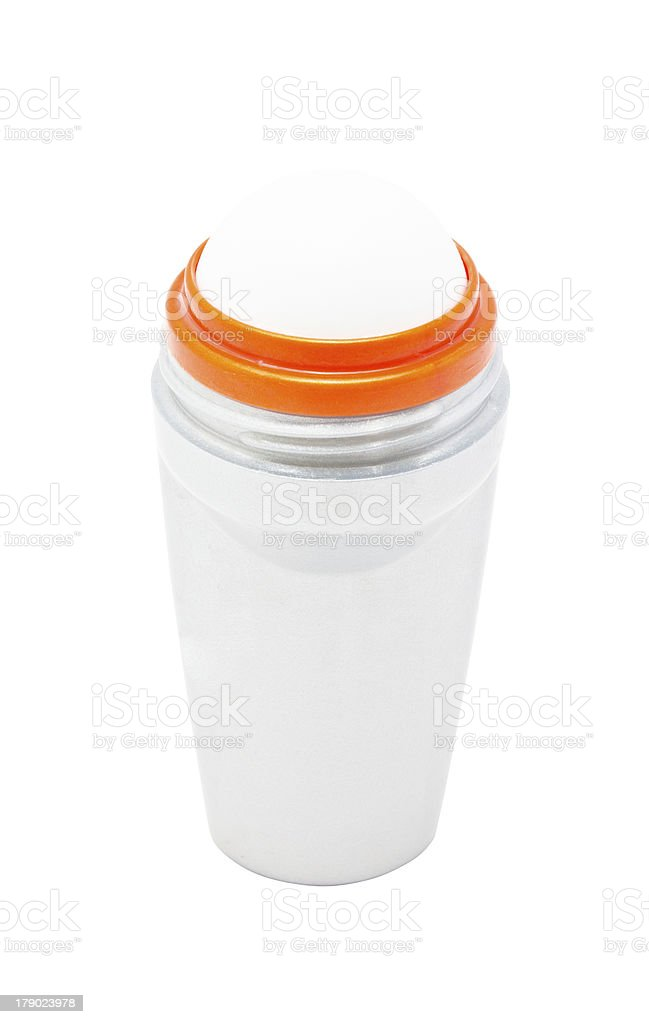 Clear space of deodorant bottle. stock photo