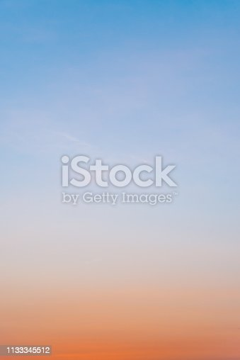 istock Clear Sunset Sky Background Texture with Copy space and Natural Gradient 1133345512