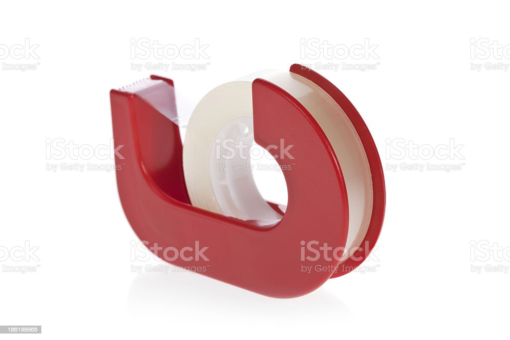 Clear tape dispenser isolated on white stock photo