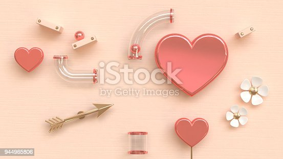 istock clear tube gold pink heart 3d rendering abstract love valentine concept 944965806