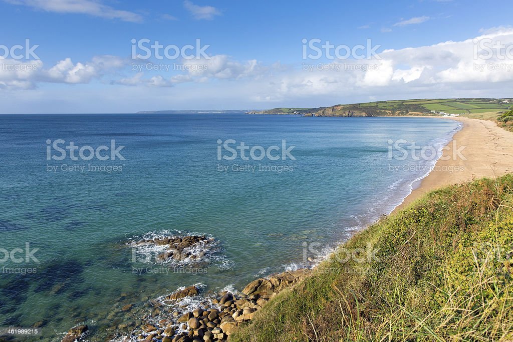 Clear turquoise sea Praa Sands Cornwall England near Penzance stock photo