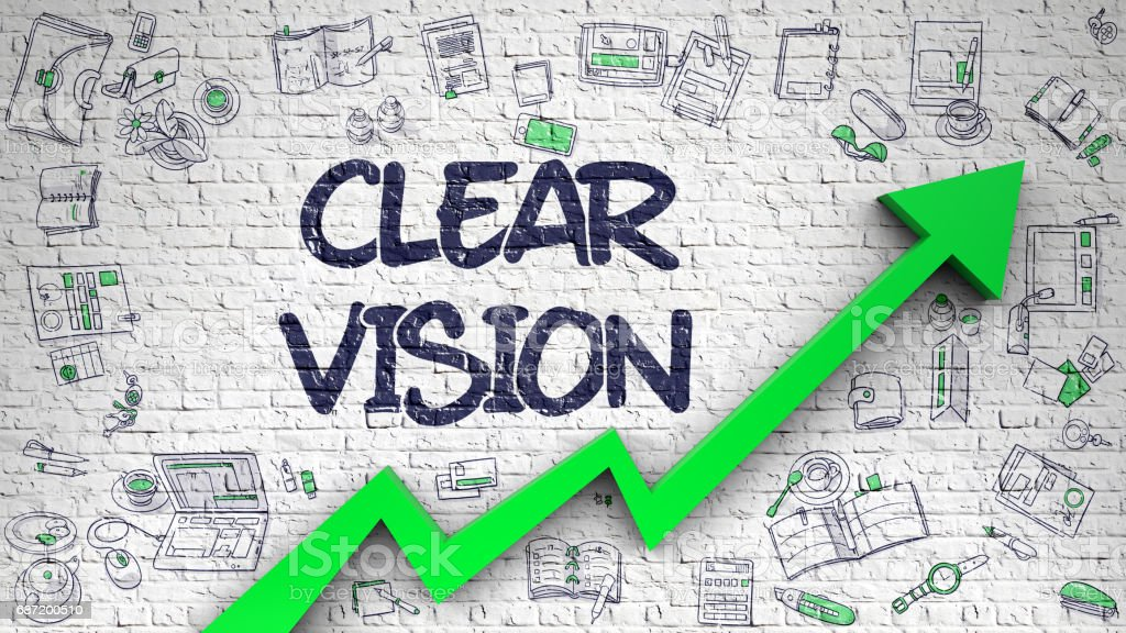 Clear Vision Drawn on White Brickwall. 3D stock photo