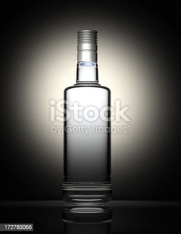 istock Clear vodka bottle isolated on black and gray background 172783055