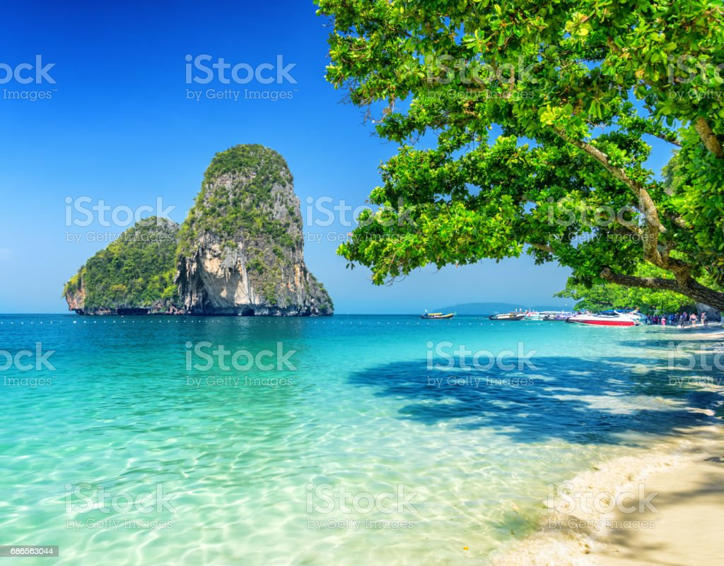 Clear water and blue sky. Phra Nang beach, Thailand royalty-free stock photo