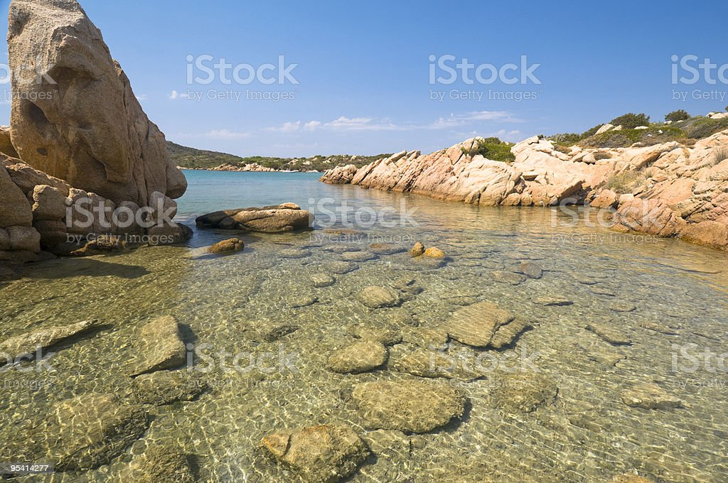 Clear water and rock stock photo