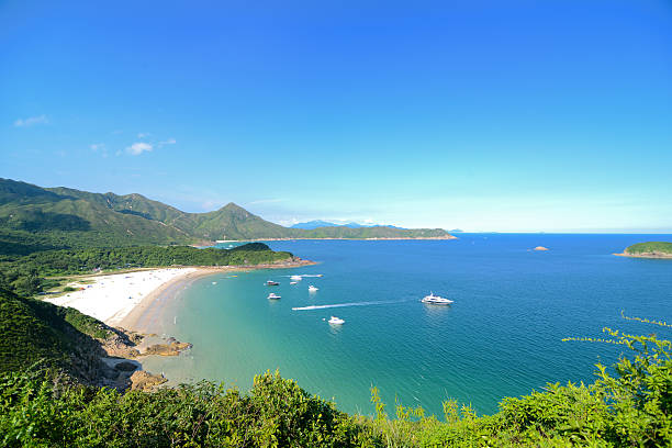 Clear Water Bay, Sai Kung, Hong Kong Global Geopark Clear Water Bay in Sai Kung, Hong Kong, is not only a beach of Hong Kong, but also camping the best place for a picnic. new territories stock pictures, royalty-free photos & images