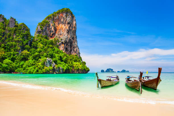 Clear water beach in Thailand stock photo