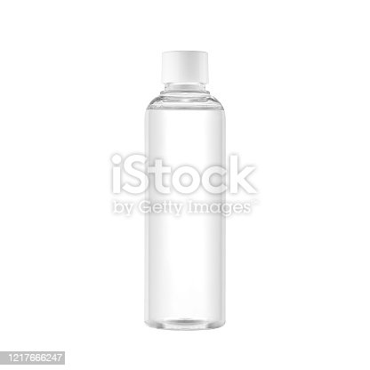 istock Clear water bottle isolated on a white background 1217666247