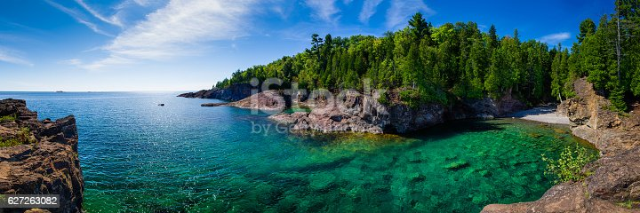 istock Clear Water Lake Bay Panorama 627263082