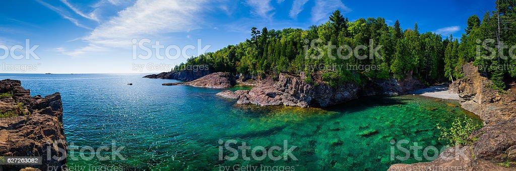 Clear Water Lake Bay Panorama stock photo