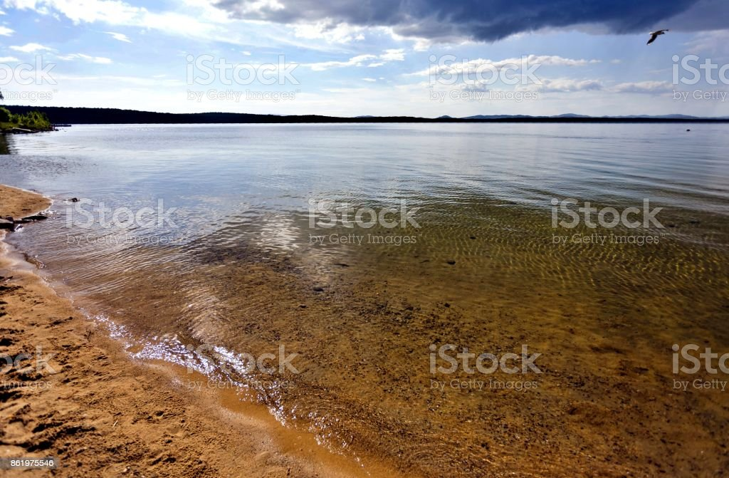 clear water of the lake Uvildy, South Ural stock photo