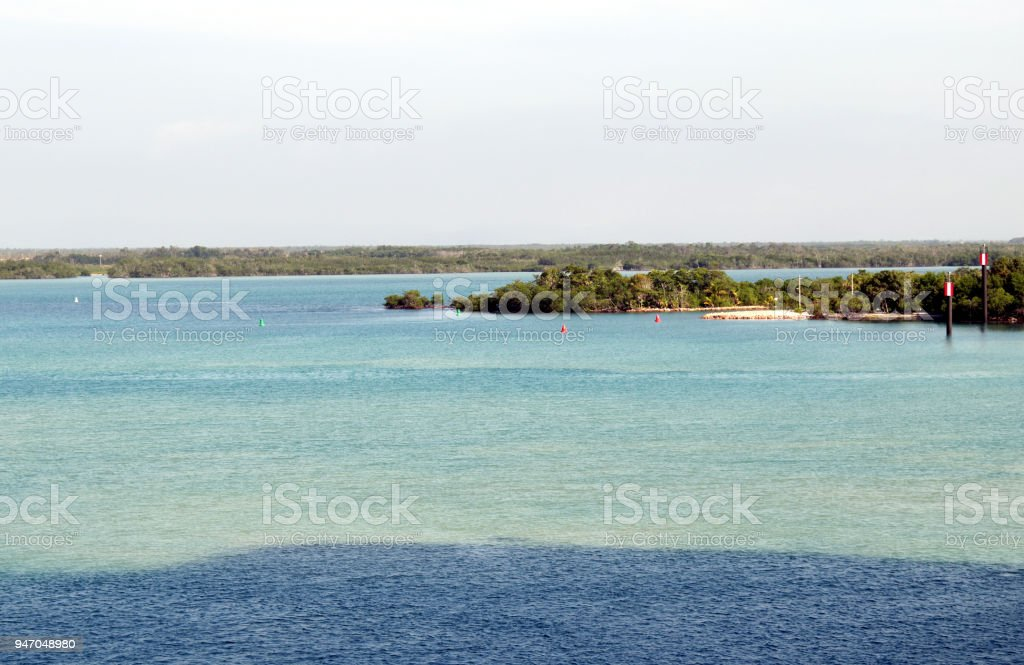 Clear Water Off the Coast of Belize stock photo