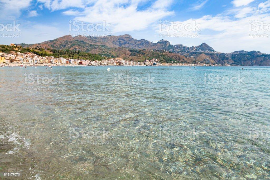 clear water on Ionian sea near Giardini Naxos stock photo
