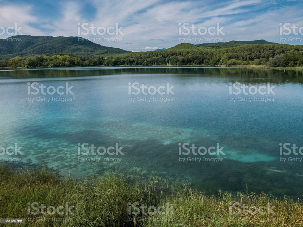 Clear waters on Banyoles Lake stock photo