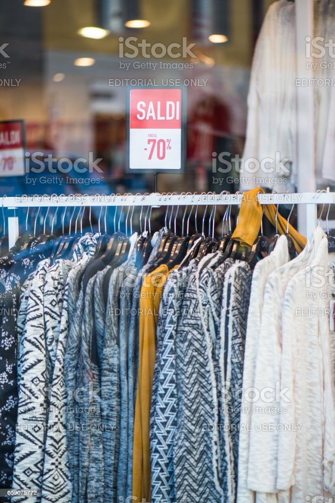 Clearance sale in discount with a selection of fashion for women stock photo