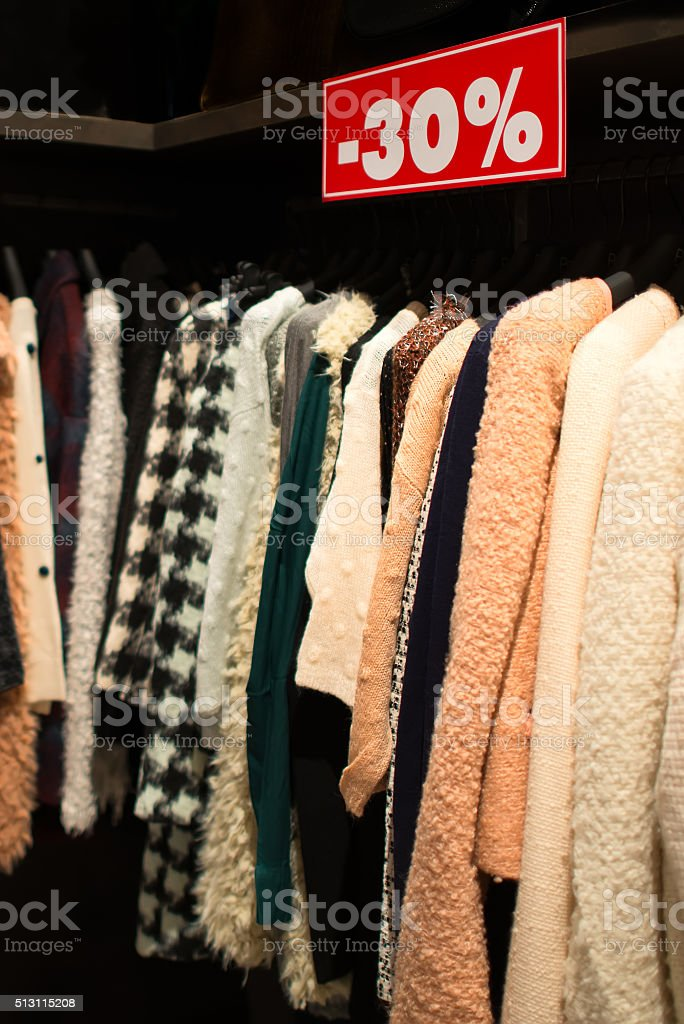 Clearance sale in discount with a selection of fashion stock photo