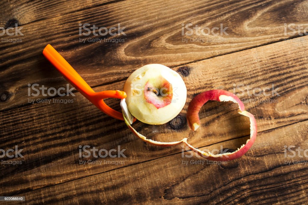 cleared apple on a w stock photo
