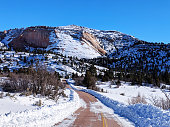 Cleared snow and along scenic road on the Kolob Terrace in Zion National Park Utah