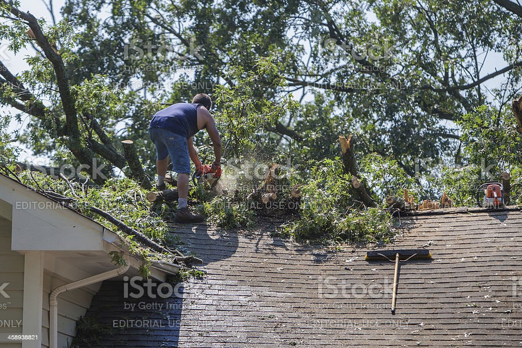 clearing fallen tree from roof stock photo
