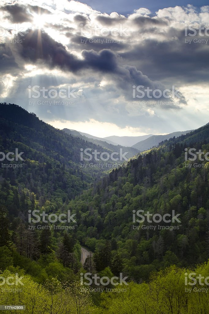 Clearing Storm Over the Mountains stock photo