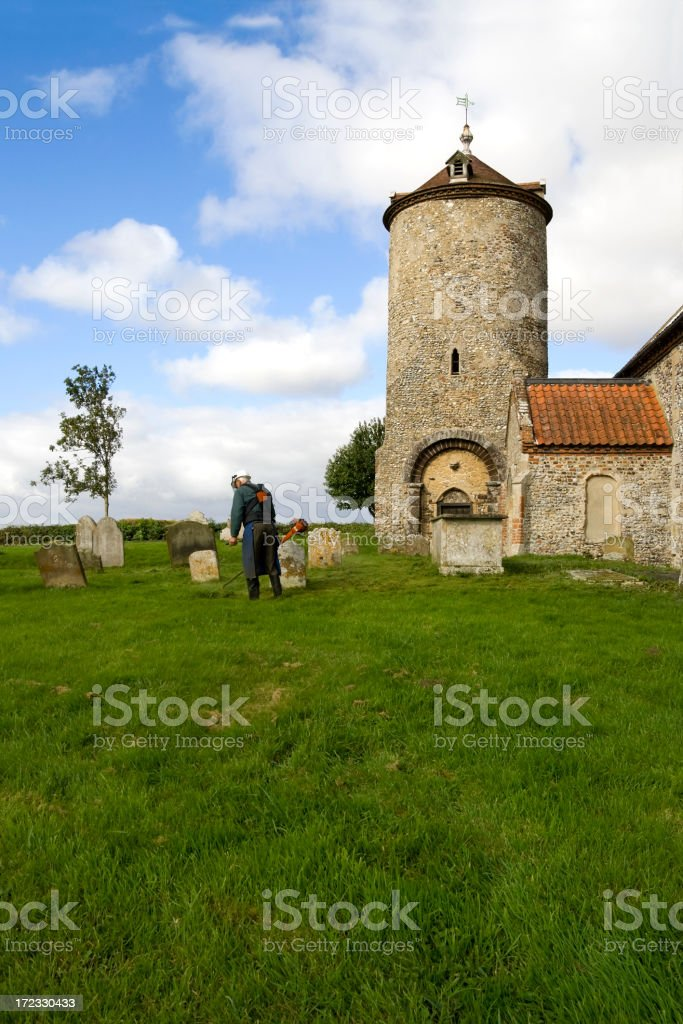 Clearing the churchyard royalty-free stock photo