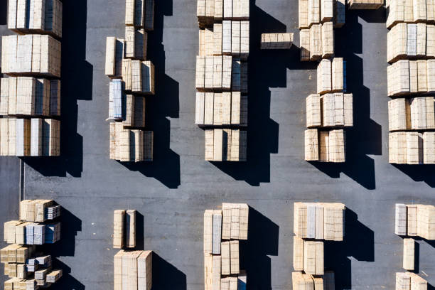 Clearly arranged timber stock photo