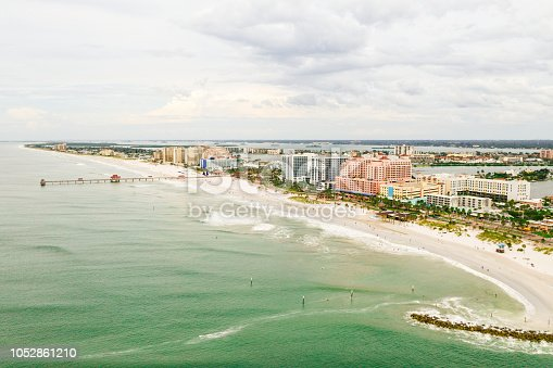 Aerial view of the Clearwater Beach in Clearwater, FL.